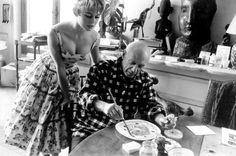 Brigitte Bardot visits Pablo Picasso at his studio near Cannes in 1956.
