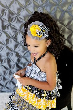 Girls Headband. Shabby Frayed Fabric Flower Headband . Gray, Yellow, Black and White Chevron Print . on Etsy, $7.22