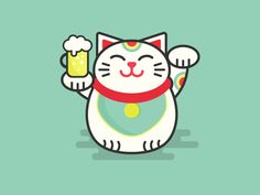 Lucky Cat designed by Alex Chernault. Japan Logo, Maneki Neko, Cat Design, Logo Design, Cat Icon, Retro 2, Cat Logo, Ui Inspiration, Fat Cats