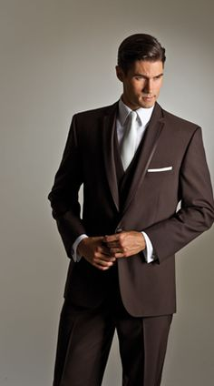 Savvi, chocolate brown suit, brown tux, classic, modern, traditional, slim fit, groom, prom, wedding