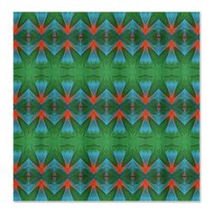Thunderbird Pattern Shower Curtain  Abstract geometric pattern similar to traditional Native American thunderbird emblems, in bold southwestern colors of turquoise, orange and green.    $59.99