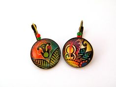 Boucles d'oreilles fantaisie créateur, dormeuses, métal bronze, verre,inspiration mexicaine via Esprit Nature. Click on the image to see more!