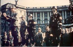 Heldenplatz, Vienna, oath of police members on March 16, 1938. From left to right: Kurt Daluege, Reinhard Heydrich, Dr. Ernst Kaltenbrunner (standing down in black uniform) and Reichsführer-SS Heinrich Himmler.
