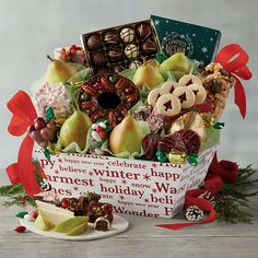A delightful gift basket brimming with gourmet snacks for the Holiday season! Check out the Deluxe Christmas Gift Basket on FaveThing! Food Baskets For Christmas, Holiday Gift Baskets, Christmas Food Gifts, Christmas Hamper, Holiday Gifts, Chocolate Moose, Trending Christmas Gifts, Eat Happy, Chocolate Covered Cherries