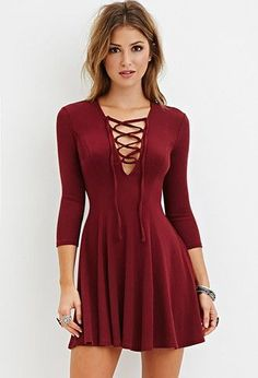 V neck red dress forever 21 14