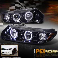 2006-2011 Honda Civic Coupe FG *Shiny Dark Black* Halo Projector LED Headlights