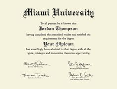 Miami University PhD - Brass Masterpiece Medallion Diploma Frame in Kensington Gold - Item from Miami University Bookstore Miami University, University Diploma, Crewel Embroidery, Embroidery Patterns, University Certificate, Professional License, Invoice Template Word, Letter Of Intent, Diploma Frame