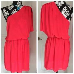 """Rory Beca One Shoulder Pink Dress Good condition. No rips, tears or marks.  Measures about 35"""" long. Fabric rayon. Rory Beca Dresses One Shoulder"""