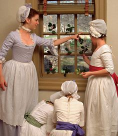 Grace McArthur, Caroline Hollis, Suzanna Winder, and Amy Player, left to right… 18th Century Dress, 18th Century Costume, 18th Century Clothing, 18th Century Fashion, Historical Costume, Historical Clothing, Historical Romance, Film Inspiration, Colonial Williamsburg