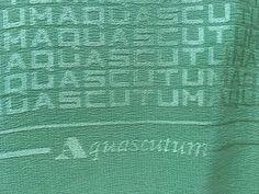 AQUASCUTUM LOVLEY MONOGRAM GREEN HAND ROLLED LARGE SILK SCARF #Aquascutum #Scarve