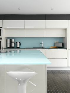 Kitchen Baby Blue Glass Backasplash And Countertop Classy Kitchens Sleek Kitchen Counter Stools Colorful Steel Base White Kitchen Cabine Things To Make Your Boring Kitchen Into Stunning Kitchen