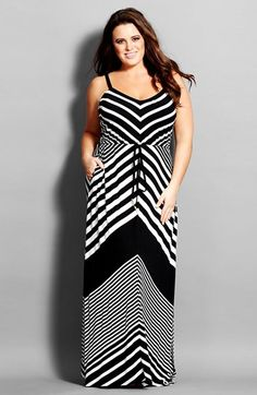 City Chic Chevron Stripe Jersey Maxi Dress (Plus Size) available at #Nordstrom