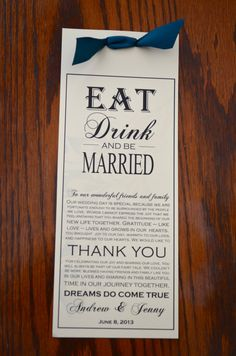 Layered Wedding Menu Card and Guest Thank You Card - Eat Drink and Be Married Peacock Theme - 10% OFF SALE via Etsy