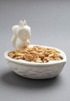 Shelling Out Snacks Bowl - White, Quirky, Minimal $25