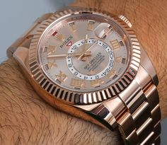 Rolex Sky-Dweller Watch: New Gold Colors Hands-On Fine Watches, Cool Watches, Rolex Watches, Wrist Watches, Rose Gold Rolex, Sky Dweller, Watch Model, Rolex Submariner, Luxury Watches For Men