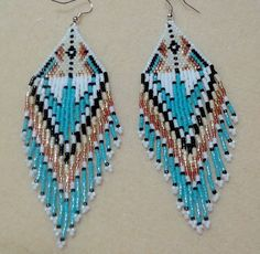 Native American Style  Seed Bead Shoulder Dustrer  Earrings-White, Turquoise Bronze Free Shipping