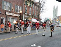 The Loyal American Regiment leading the skirmish down High Street