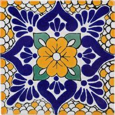 Mexican Tile - Decorative Mexican Handcrafted Ceramic Tile by Size Tiles Terra Nova, Mexican Ceramics, Ceramic Techniques, Mexican Art, Mexican Tiles, Tile Design, Pattern Design, Tile Patterns, Arabesque