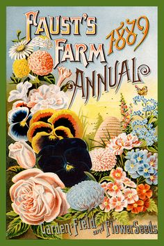 Fausts Seed Catalog cover 1889 in a set of 4-4x6 quilt blocks by American Quilt Blocks. Ferry Seed Packet 1889 in a set of 4-4x6 quilt blocks by American Quilt Blocks. Vintage image printed on cotton. Ready to sew.  Single 4x6 block $4.95. Set of 4 blocks with pattern $17.95.