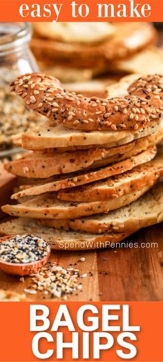 Bagel chips are the perfect pair with any dip, especially a cream cheese dip! They are quick and easy to make at home and can be flavored with so many different spices. Try making everything bagel chips, sweet cinnamon chips, or garlic spiced chips. Homemade Soft Pretzels, Homemade Bagels, Homemade Chips, Easy Appetizer Recipes, Snack Recipes, Bread Recipes, Appetizers, How To Make Bagels, Bagel Dip