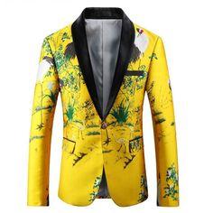 aa3cc64fe8f 2018 new arrive men spring autumn yellow flower print korean slim casual  suit party hight quality male plus size suit