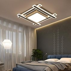 VEIHAO Modern acrylic LED ceiling light Overlapping frames large luxury ceiling lamp for living dining bed room luster avize. Drawing Room Ceiling Design, House Ceiling Design, Ceiling Design Living Room, Bedroom False Ceiling Design, Ceiling Light Design, Home Ceiling, Living Room Designs, Modern Led Ceiling Lights, Chandelier Ceiling Lights
