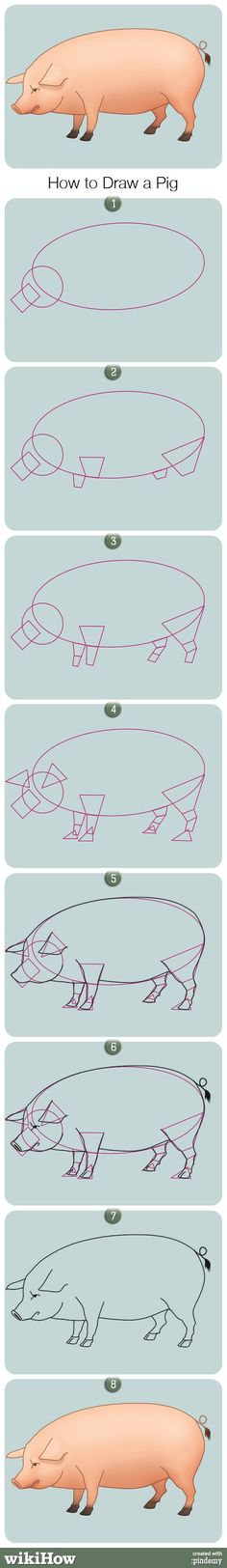 How to Draw a Pig....this is funny bc who the hell is so concerned about drawing a pig right they need to consult wiki how?!?