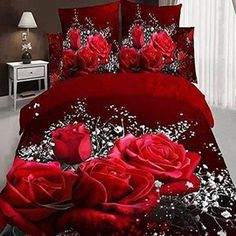 Babycare Pro Rose and Gypsophila Paniculata Print Bedding Sets/Fitted Sheet Sets,Duvet Cover Sets Cotton 4 Pillowcases, 1 Duvet/Quilt Fitted Sheet,No Comforter)) (King) Red Bedding Sets, 3d Bedding, Teen Bedding, Floral Bedding, Luxury Bedding Sets, Comforter Sets, Rose Comforter, King Comforter, Purple Bedding
