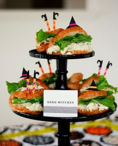Halloween, Halloween Party, Halloween food, Halloween buffet, Halloween sandwiches, witch, witch  sandwiches, sand witches