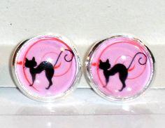 Ohrstecker Katze Ohrringe Damen Ohrschmuck Modeschmuck ohne Stein Glas Cabochon