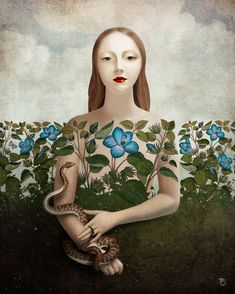 'Eva and the Garden ' by Christian  Schloe on artflakes.com as poster or art print $20.79