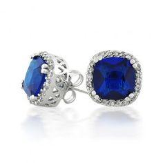 Sterling Silver Crown Setting Princess Diamond CZ Sapphire Stud Earrings Bling Jewelry, Blue Sapphire, Gemstone Rings, Stud Earrings, Crown, Jewels, Sterling Silver, Princess, Diamond