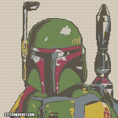 Boba Fett Star Wars Cross Stitch Pattern