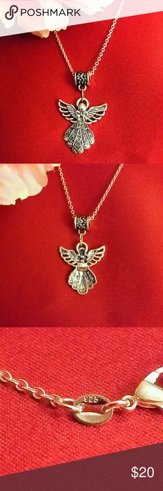 Beautiful Angel Necklace This necklace is absolutely gorgeous.  The chain is stamped 925 and the pendant is silver plated.  The chain is 18 inches and the pendant is 1 inch.  It is NWOT. Jewelry Necklaces