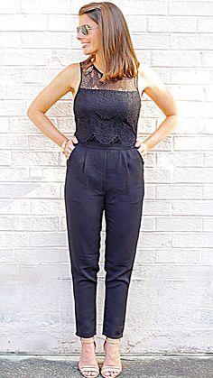 Lace Popover Jumpsuit - Black