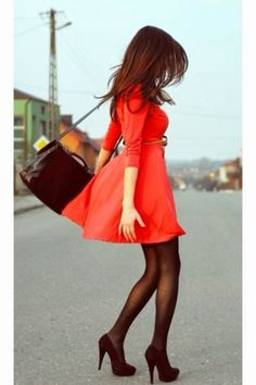 Very Nice Red Dress, Amazing Dress, Combination of Red Dress and  Black Leather Handbag