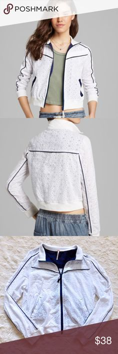 Free People Eyelet Track Jacket In excellent used condition. Comfy and lightweight, this is a great transitions jacket for between the seasons. Size large, but fits more like a medium {IMO}. Smoke/pet free home. Ask all questions before buying. NO trades ❌🙅🏻 Bundle for a discount 🎉 •1st/2nd photo not mine, just to show fit• Free People Jackets & Coats