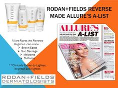Allure's A-List: Rodan and Fields Reverse Skincare products #reverse #lifechangingskincare #youreworthit #contactme