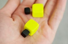 Yellow Ear Jacket, Square Earrings, Double Sided Earrings, Double Earring, Tribal Earrings, Yellow Stud Earrings, Two Sided Earrings