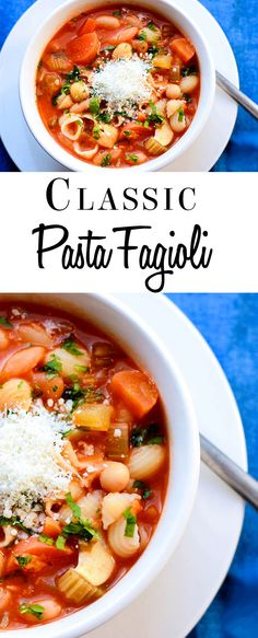 Pasta Fagioli -Erren's Kitchen - This is classic Italian soup, but hearty enough to be considered a pasta dish as well. This recipe is full of flavor, satisfying and loaded with pasta, beans, and vegetables. A great Vegetarian meal!