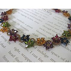 Stainless Steel Multi-colored Delicate Crystal Flower Necklace (USA) | Overstock™ Shopping - Great Deals on Necklaces