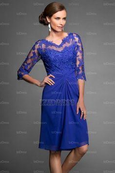 Sheath/Column V-neck Knee-length Chiffon Lace Evening Dresses - IZIDRESSES.com at IZIDRESSES.com