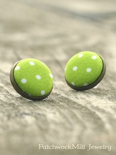 Green Stud Earrings Green Apple On Wood Earring Studs Fabric Buttons Jewelry Polka Dots Earring Posts by PatchworkMillJewelry