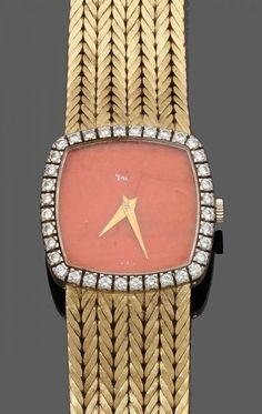 Piaget-Damenarmbanduhr mit Korallen-ZifferblattFa. Piaget, Schweiz. 750er GG, gestemp. Auf der Unter — Schmuck-Uhren