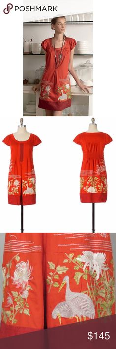"""Anthropologie Floreat Fire's Path dress Excellent preowned condition. Red Floreat embroidered Fires Path anthropologie dress. This dress is VERY RARE, therefore price is pretty firm although I always consider FAIR offers. Floreat follows the glow of incendiary paprika poplin toward an embroidered aviary with Asian style cranes, bordered by a silk habotai hem. Cotton; acetate lining. Length 35"""" pit to pit 17.5"""". Anthropologie Dresses"""