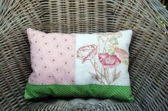 sweet handmade cushion with fairy embroidery (machine done) - see more on Dawanda.com - Nostalgie & Nähkästchen