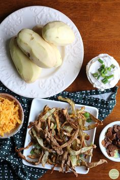 Overhead air fried potato peels on plate with grated non-dairy cheese, non-dairy cream cheese, seitan bacon, and peeled potatoes. Vegan Baked Potato, Baked Potato Soup, Potato Dishes, Potato Recipes, Air Fry Potatoes, Fried Potatoes, Dairy Free Recipes, Vegan Recipes Easy, Yummy Recipes