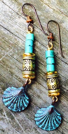 Turquoise and Gold Sea-Inspired Earrings | XO Gallery