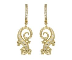 18K Salamander Earrings with diamond - Temple St. Clair