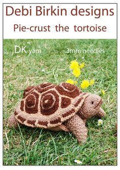 Knitting pattern for a cute turtle.    All Debi Birkin designs have been published and are  copyright and patent registered and protected    This is